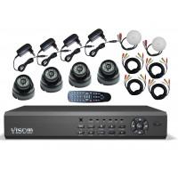 Viscoo CCTV Kit 3126 Camerabewaking met 4 kanaals recorder en 4 Dag en nacht IR camera's